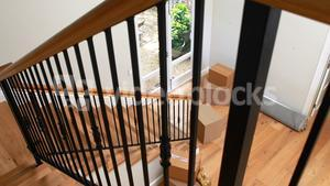Interior of home with wooden floor and staircase