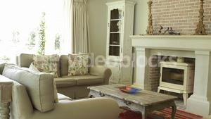 Interior of living room with sofa and fireplace