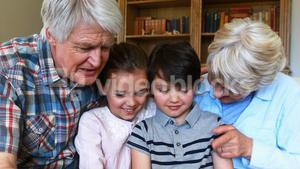 Grandparents and grandchildren having fun together in living room