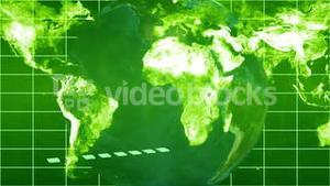 Business videos falling onto green world map and globe