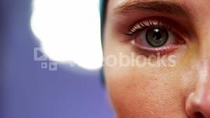 Close-up of female surgeon eyes in operating room