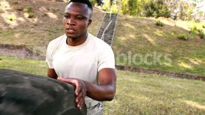 Military soldier during fitness training exercise