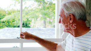 Portrait of smiling senior man standing next to window