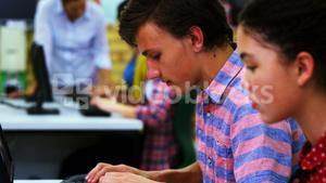 Attentive students using computer