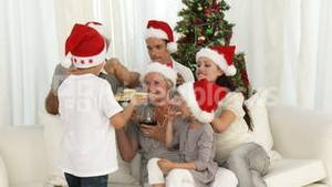 Family drinking wine and eating sweets at Christmas