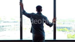 Rear view of male executive looking through window