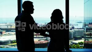 Silhouette of couple arguing near the window
