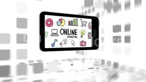 Mobile phone with online marketing and business icons