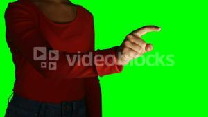 Woman pretending to use an invisible screen