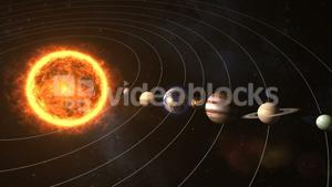 Solar system with sun and planets