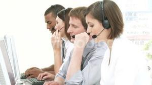 Multiethnic people working in a call center