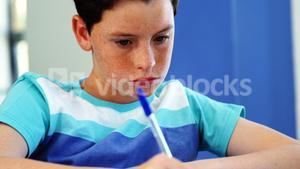 Student studying in classroom