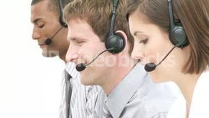 Panorama of young people working in a call center
