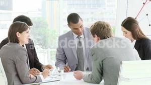 Multi Cultural business meeting with people interacting
