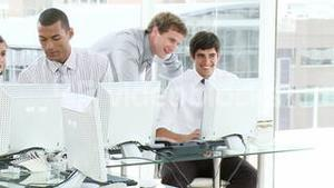 Young business team working in an office