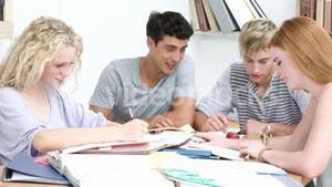 Group of adolescents studying together