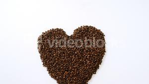 Coffee beans forming heart shaped