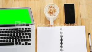 Coffee with organizer and mobile phone