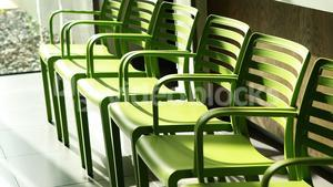 Green chairs in hospital