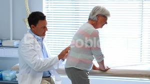 Physiotherapist giving back massage to senior patient