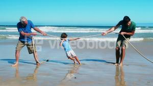 Family playing tug of war at the beach