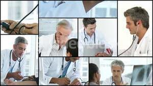 Montage of a doctor helping a patient