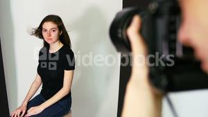Female model posing for a photo shoot